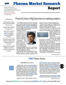 The front page of the most recent issue of Pharma Market Research Report.