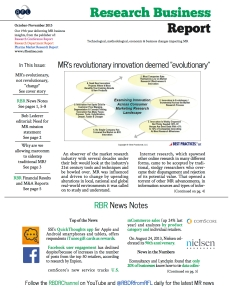 The front page of the most recent issue of Research Business Report.